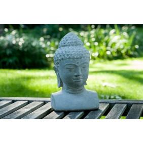 gartenselect Kunststeinfigur Buddha Büste naturgrau