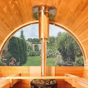 Wolff Finnhaus Halbrundglas für Saunafass de luxe