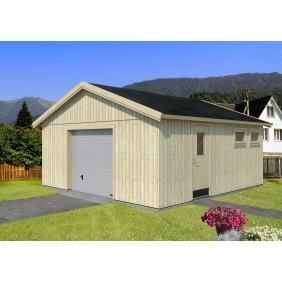 Palmako Nordic+ Gartenhaus/Garage Andre mit Sektionaltor - 28,8 m² - 160 mm