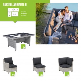 Kettler Palma Dining Gartenmöbel-Set white-wash (Variante 6) - Restposten