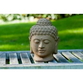gartenselect Kunststeinfigur Buddha Büste braun