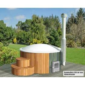 Wolff Finnhaus Badebottich Hot Tub Ø 200 cm de luxe Thermoholz mit Außenofen