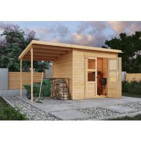 Karibu Eco Gartenhaus Merseburg 4 inkl. Anbaudach / Boden