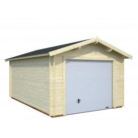 Palmako Garage Roger 16,3 m² - 34 mm - mit Sektionaltor - naturbelassen