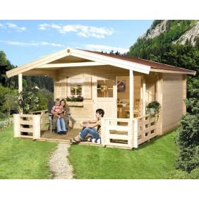 Weka 45 mm Premium Blockbohlenhaus Kempten 3 mit Vordach+Terrasse