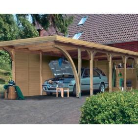 Karibu Carport Einzelcarport Premium Einzel 3 - Abb. inkl. 4 Seitenwänden, 1 Rückwand und 11 H-Pfostenanker - gegen Aufpreis erhältlich