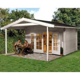 Weka 45 mm Premium Blockbohlenhaus Tegernsee 2 mit Vordach (200 cm)