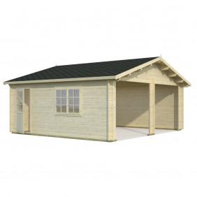 Palmako Garage Roger 28,4 m² - 44 mm - ohne Tore - naturbelassen
