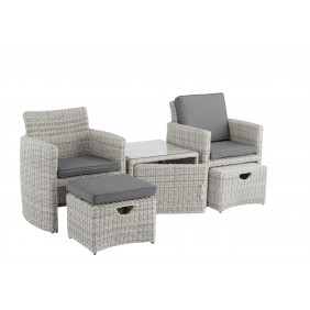 Kettler CUPIDO+ 5-teiliges Set white-wash inkl. Tisch und 2 Sessel mit Hocker