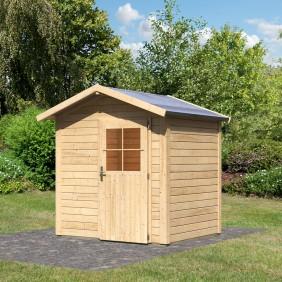 Karibu Gartenhaus Gerätehaus Mellby 28 mm (Abb. inkl. Zubehör: Fußboden und Dachschindeln)