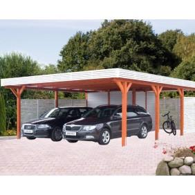 Skanholz Spessart- Flachdach Einzelcarport aus Leimholz Breite 355 cm