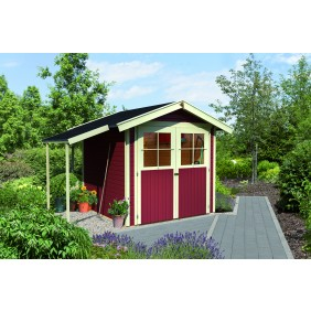 Karibu Gartenhaus Harburg inkl. Anbaukombi, Boden und Dachschindeln - opalgrau