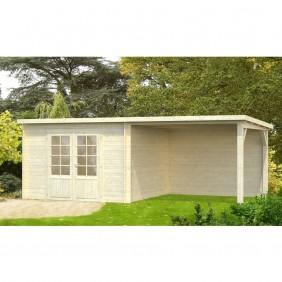 Palmako Gartenhaus Ella 8,7 + 8,2 m² - 28 mm - naturbelassen