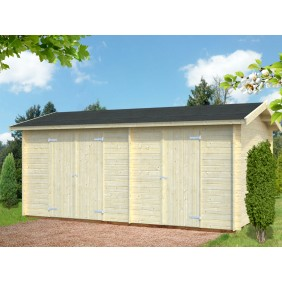 Palmako Gerätehaus Jari 14,5 m² - 28 mm - naturbelassen - outdoor