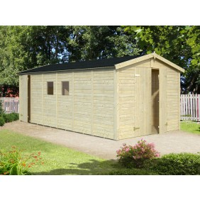 Palmako Gerätehaus Dan 14,2 m² - 16 mm - naturbelassen