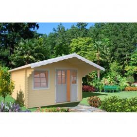 Palmako Gartenhaus Sally 12,3 m² - 44 mm - creme - graue Türen