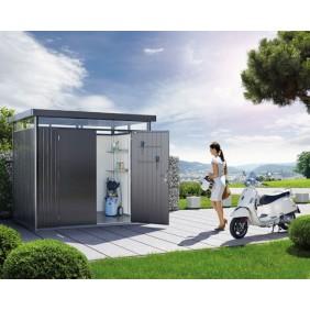 Biohort Gerätehaus HighLine mit Doppeltür dunkelgrau-metallic