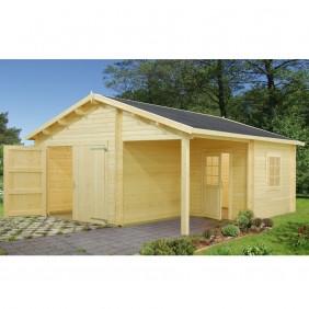 Palmako Garage Roger 21,9+5,2 m² - 44 mm - mit Holztor