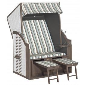Müsing SunnySmart Strandkorb Rustikal 15 Z 2-Sitzer weiß Stoff Nr. 1206