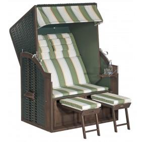 Müsing SunnySmart Strandkorb Rustikal 25 Z 2-Sitzer grün Stoff Nr. 1202