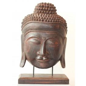 gartenselect Holzskulptur Buddha Maske dunkelbraun