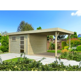 Palmako Gartenhaus Elsa 8,7+8,1 m² - 28 mm - naturbelassen