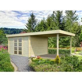 Palmako Gartenhaus Elsa 9,6+8,1 m² - 28 mm - naturblelassen