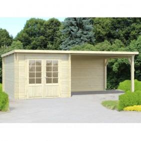 Palmako Gartenhaus Ella 6,9 + 10,0 m² - 28 mm - naturbelassen