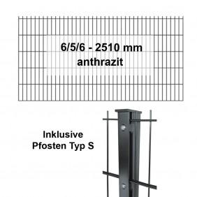 Kraus DS 6/5/6 - 2510mm - anthrazit - Pfosten S Komplettset