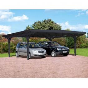 Skanholz Odenwald - Design Doppel Carport aus Leimholz Breite 640 cm schiefergrau