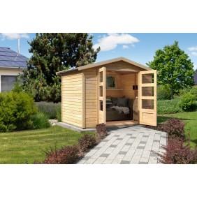 Karibu Eco Gartenhaus Gerätehaus Heidenau 2/3/4/5 - 19 mm (Abb. inkl. Zubehör: Schleppdach und Dachschindeln)