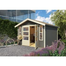 Karibu Eco Gartenhaus Gerätehaus Altenau 6/7 - 19 mm (Abb. inkl. Zubehör: Fußboden, Anbauschrank 1,5 und Dachschindeln)
