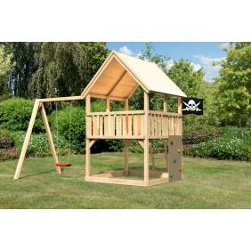 Karibu Woodfeeling Kinderspielturm Findus mit Anbau