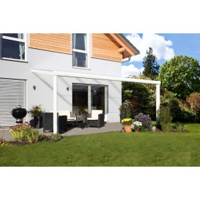 Skan Holz Aluminium Terrassenüberdachung Garda Breite 434 cm weiß