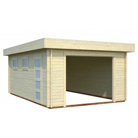 Palmako Garage Rasmus 19,0 m²- 44 mm - ohne Tor - naturbelassen