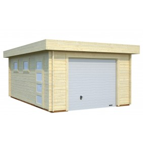 Palmako Garage Rasmus 19,0 m² - 44 mm - mit Sektionaltor - naturbelassen