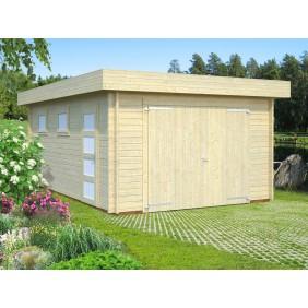 Palmako Garage Rasmus 19,0 m² - 44 mm - mit Holztor - naturbelassen