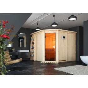 Karibu Sauna Farin mit Eckeinstieg 68 mm - Sparset