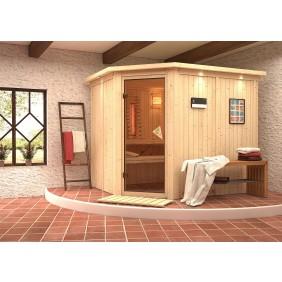 Karibu Sauna Malin mit Eckeinstieg 68 mm