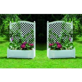 KHW Pflanzkasten groß mit Spalier 100 cm - 2er Set, weiß