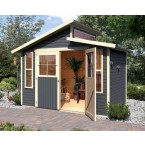 Karibu Eco Gartenhaus Gerätehaus Grafenau/Grauburg 6/7 - 19 mm terragrau (Abb. inkl. Zubehör: Fußboden und Dachschindeln)