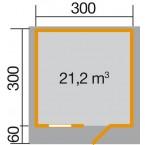 Weka 28 mm Gartenhaus Premium28 FT mit Vordach (60 cm) Gr. 5