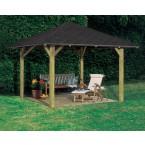 Karibu 4-Eck Pavillon Bergen 1/2 kesseldruckimprägniert Abb. inkl. 4 H-Pfostenanker und Dachschindeln - gegen Aufpreis erhältlich