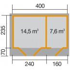 Weka 28 mm Gartenhaus 261 Größe 1 Grundriss