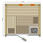 Infraworld Sauna Panorama Complete - 75 mm Multifunktionssauna Grundriss