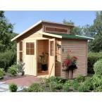 Karibu Eco Gartenhaus Gerätehaus Grafenau/Grauburg  6/7 - 19 mm (Abb. inkl. Zubehör: Fußboden und Dachschindeln)