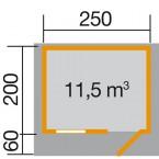 Weka 28 mm Gartenhaus Premium28 FT mit Vordach (60 cm) Gr. 1