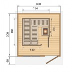 Weka Blockbohlen Saunahaus 139 Gr. 2 OS / BioS inkl. Elementsauna - Grundriss