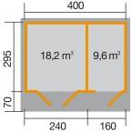 Weka 28 mm Gartenhaus 261 Größe 2 Grundriss