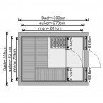 Karibu Bosse - 38 mm Gartensauna mit Vorraum und Satteldach Innenansicht